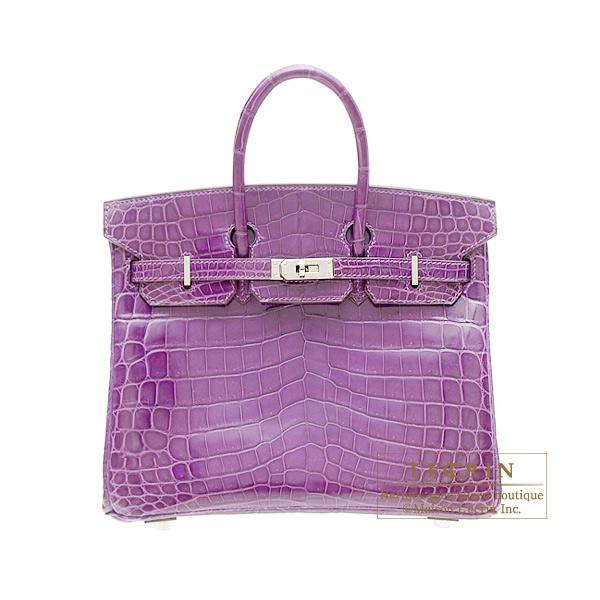 7bc47e3d225 Hermes Birkin bag 25 Violet Niloticus crocodile skin Silver hardware