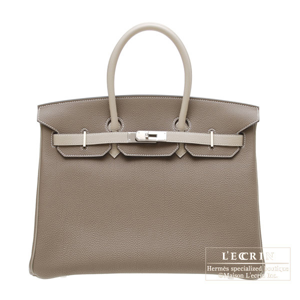 Hermes Personal Birkin bag 35 Etoupe grey/Gris tourterelle Togo leather Silver hardware