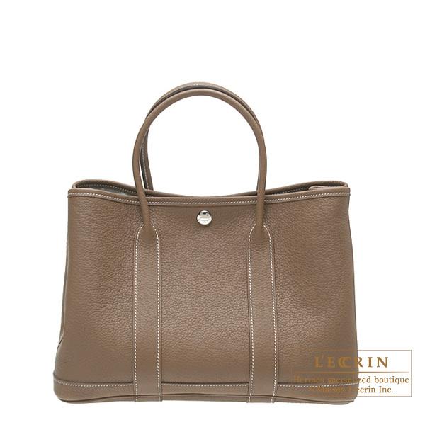 Hermes Garden Party Bag Tpm Etoupe Grey Negonda Leather Silver Hardware