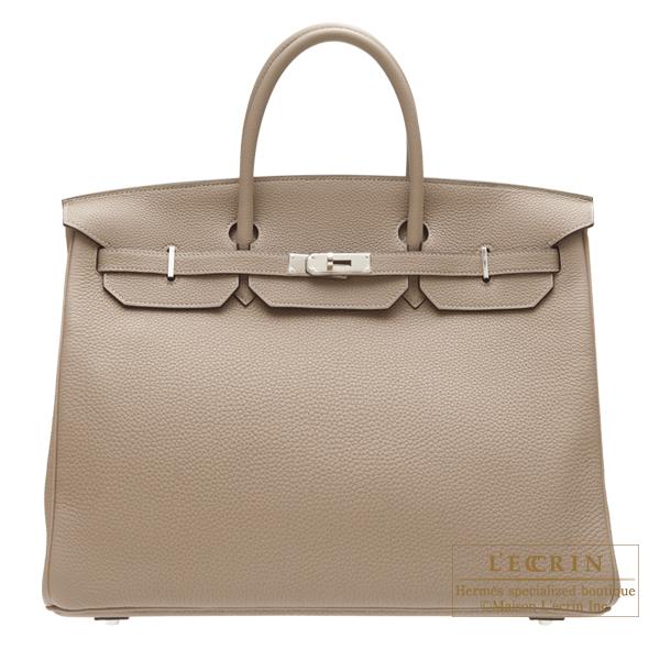 Hermes Birkin bag 40 Gris tourterelle Togo leather Silver hardware