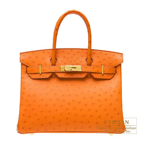 愛馬仕柏金包 30 橘鴕鳥銀金屬愛馬仕柏金包袋 30 橘橙鴕鳥皮革黃金硬體