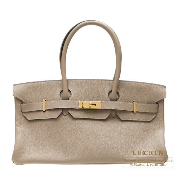 Hermes JPG Shoulder Birkin bag 30 Gris tourterelle Clemence leather Gold hardware