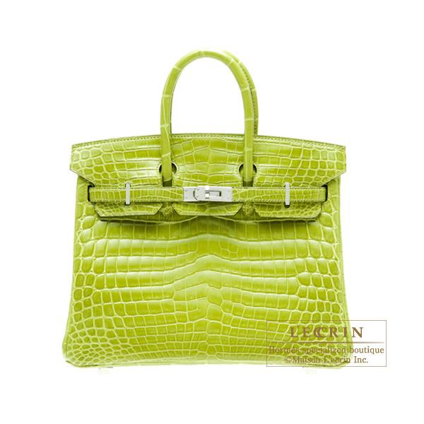 d8e251aea68 Hermes Birkin bag 25 Anis green Niloticus crocodile skin Silver hardware