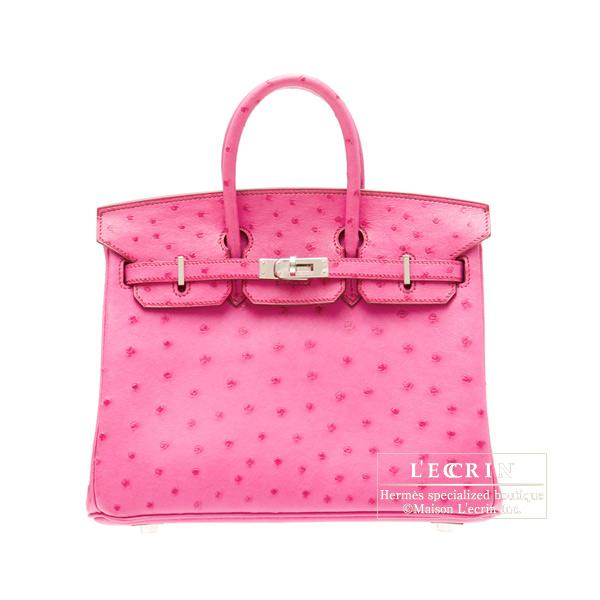 愛馬仕柏金包 25 fushapink 鴕鳥銀金屬愛馬仕柏金包袋 25 紫紅色粉紅色鴕鳥皮革銀硬體