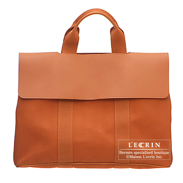 爱马仕瓦尔帕来索MM burikkutowarushieburon Hermes Valparaiso bag MM Brique Cotton canvas with Swift leather