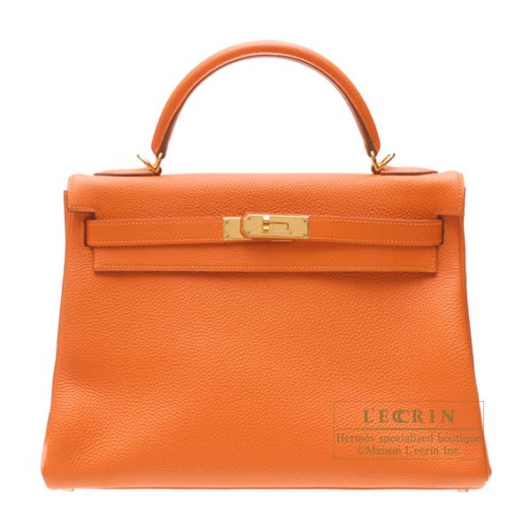 爱马仕凯利 32 / 32 Retourne 橙色多哥在橙色有金色的金属爱马仕凯利包缝皮革黄金硬件