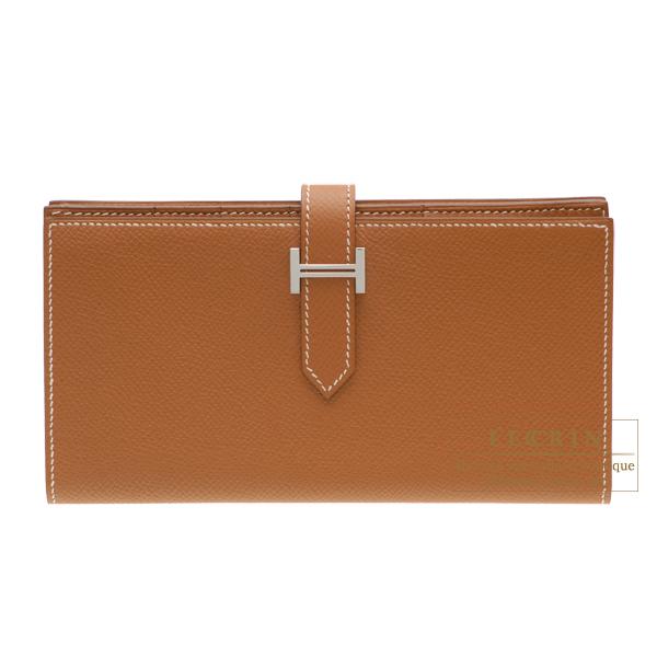 エルメス ベアンスフレ ゴールド ヴォーエプソン シルバー金具 HERMES Bearn Soufflet Gold Epsom leather Silver hardware