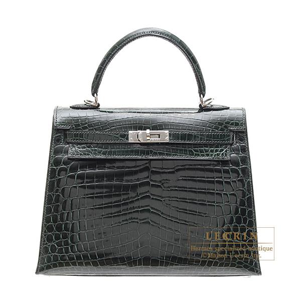 Hermes Kelly Bag 25 Ier Vert Fonce Niloticus Crocodile Skin Silver Hardware