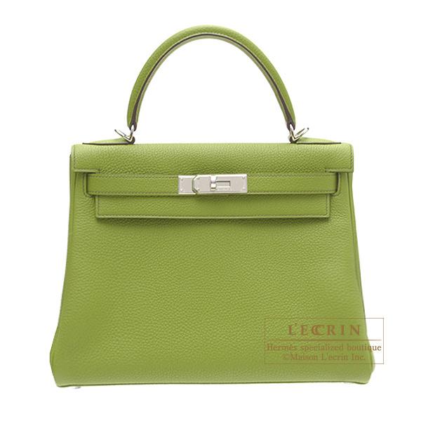 愛馬仕凱利28/裏面的縫anisugurintogoshiruba金屬零件HERMES Kelly bag 28 Retourne Anis green Togo leather Silver hardware