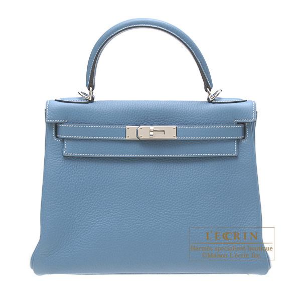 Hermes Kelly bag 28 Retourne Blue Jean Clemence leather Silver hardware