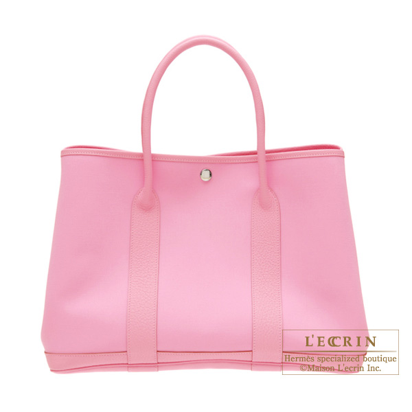 Hermes Garden Party Bag Pm Pink Cotton Canvas Silver Hardware