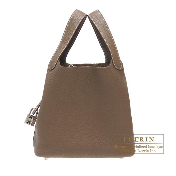 エルメス ピコタンロックMM エトゥープ トリヨンクレマンス シルバー金具 HERMES Picotin Lock bag MM Etoupe grey Clemence leather Silver hardware