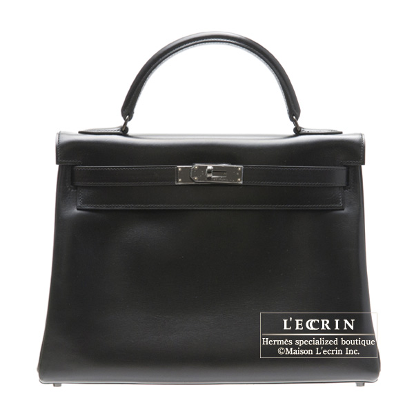 739e8f7e37 Hermes So-black Kelly bag 32 Retourne Black Box calf leather Black hardware