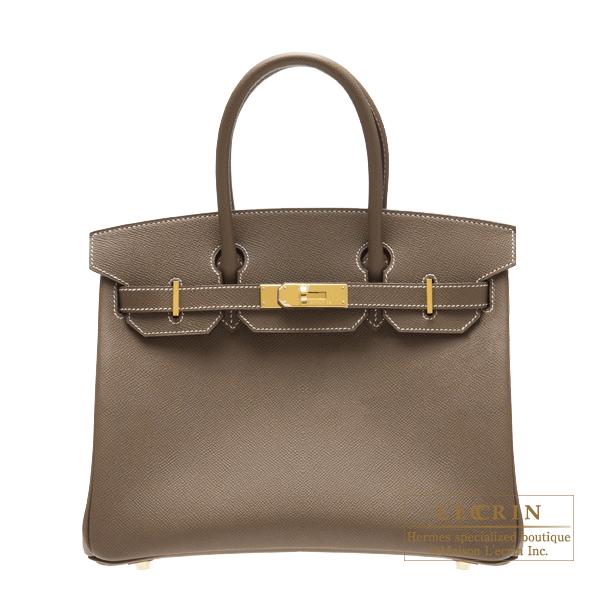 エルメス バーキン30 エトゥープ ヴォーエプソン ゴールド金具 HERMES Birkin bag 30 Etoupe grey Epsom leather Gold hardware