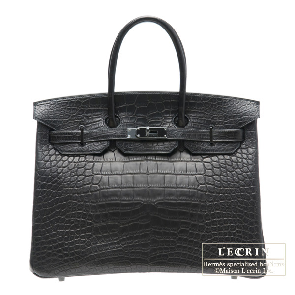 070545352b Hermes So-black Birkin bag 35 Black Matt alligator crocodile skin Black  hardware