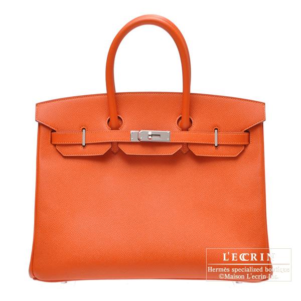 最愛 エルメス バーキン35 フー ヴォーエプソン シルバー金具 HERMES Birkin bag 35 Feu Epsom leather Silver hardware, レーヴ 6bb293d8