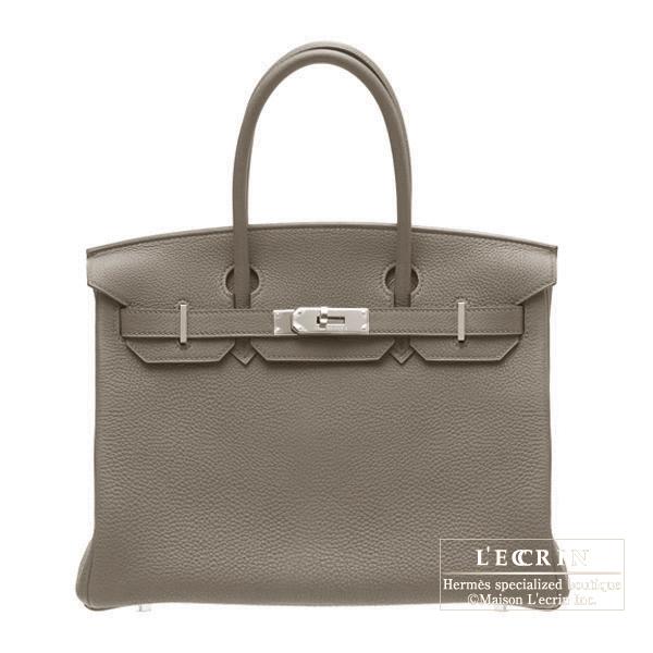 爱马仕 Birkin 30 乙烷坡银金属爱马仕 Birkin 包 30 Etain/Etain 灰色多哥皮革银色硬件
