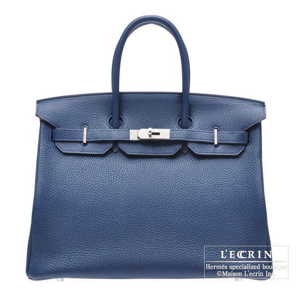 Hermes Birkin Bag 35 Blue De Malte Togo Leather Silver Hardware