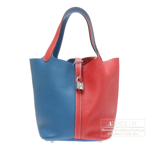 a8c47183013b Hermes Picotin Lock bag MM Rouge casaque Blue thalassa Clemence leather  Silver hardware
