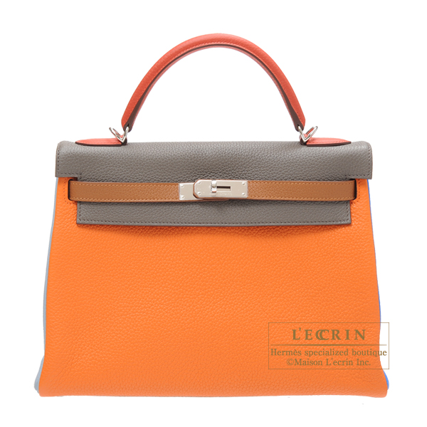 2e1fa8a000 Hermes Kelly arlequin bag 32 retourne Tri-color Orange/Etain grey/Sanguine  Clemence