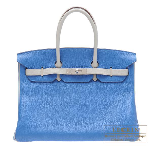 爆買い! エルメス パーソナルバーキン35 ミコノス/ パールグレー トゴ シルバー金具 HERMES Personal Birkin bag 35 Mykonos/Pearl grey Clemence leather Silver hardware, ソブエチョウ f4377420