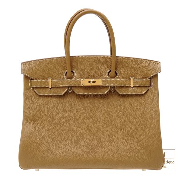 【人気急上昇】 エルメス バーキン35 クラフト トリヨンクレマンス ゴールド金具 HERMES Birkin bag 35 Kraft Clemence leather Gold hardware, アメイジングサーカス 242225eb