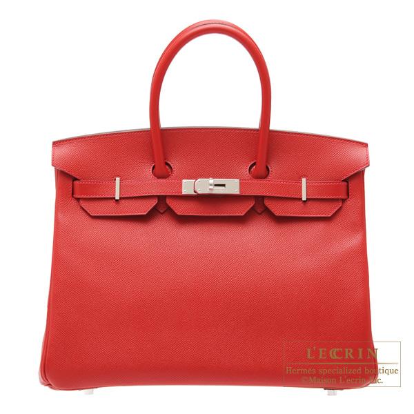 エルメス バーキン35 ルージュカザック ヴォーエプソン シルバー金具 HERMES Birkin bag 35 Rouge casaque Epsom leather Silver hardware