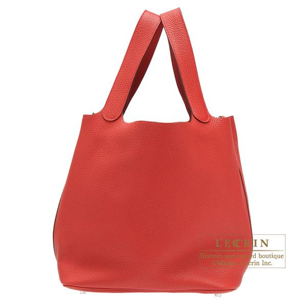 エルメス ピコタンロックGM ルージュカザック トリヨンクレマンス シルバー金具 HERMES Picotin Lock bag GM Rouge casaque Clemence leather Silver hardware