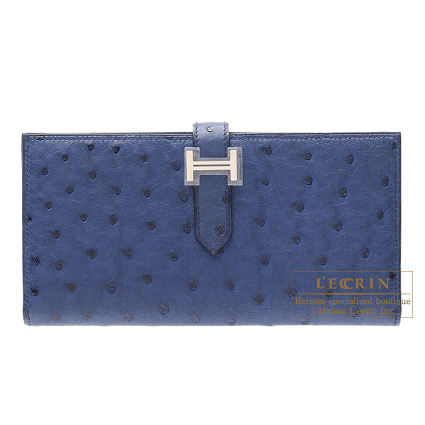 【初売り】 エルメス ベアンスフレ ブルーロイ オーストリッチ シルバー金具 HERMES Bearn Soufflet Blue roy Ostrich leather Silver hardware, ORANGE-WEB 2be8fc0b