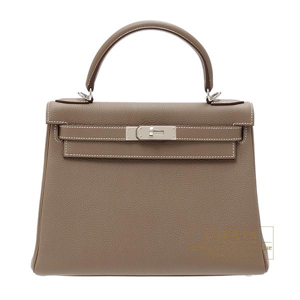 Hermes Kelly Bag 28 Retourne Etoupe Grey Togo Leather Silver Hardware