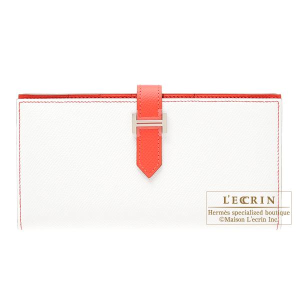 エルメス ベアンスフレ ホワイト/ローズジャイプール ヴォーエプソン シルバー金具 HERMES Bearn Soufflet Bi-color White/Rose jaipur Epsom leather Silver hardware