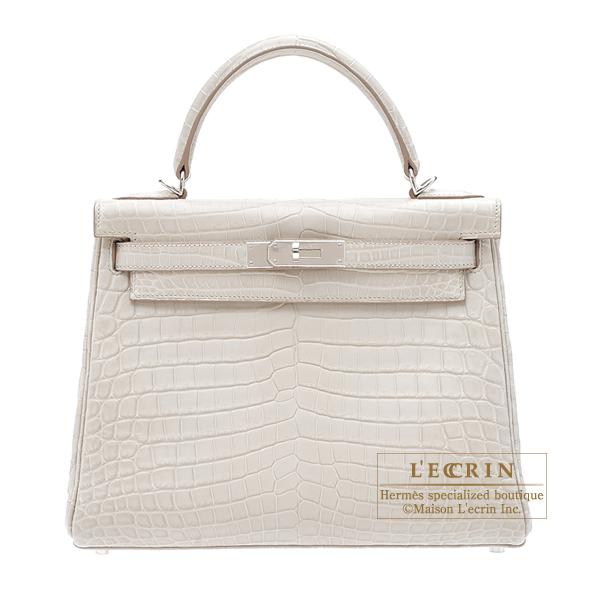 1899c1e00def Lecrin Boutique Tokyo  Hermes Kelly bag 28 Retourne Beton Matt niloticus  crocodile skin Silver hardware