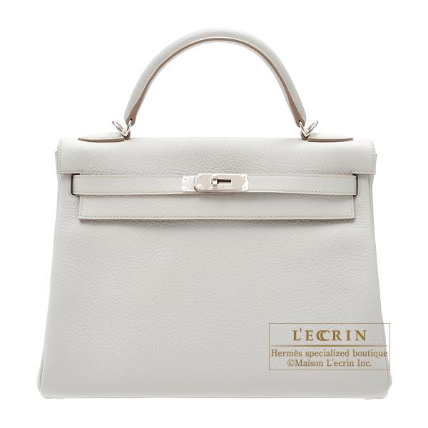 エルメス ケリー32/内縫い パールグレー トリヨンクレマンス シルバー金具 HERMES Kelly bag 32 Retourne Pearl grey Clemence leather Silver hardware
