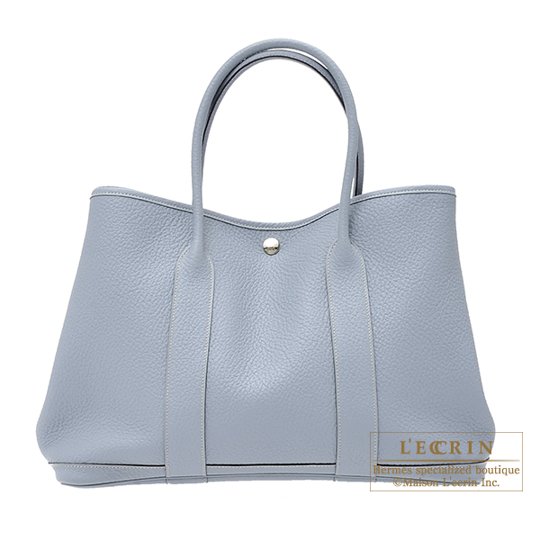 ... spain hermes garden party bag pm blue lin country leather silver  hardware aaea3 ff254 ... 68a1824c55
