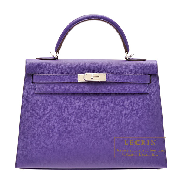 愛馬仕凱利32/外面縫kurokkasuvoepusonshiruba金屬零件HERMES Kelly bag 32 Sellier Crocus Epsom leather Silver hardware