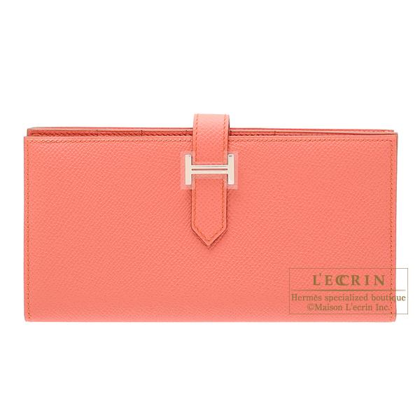 驚きの値段で エルメス leather Silver ベアンスフレ フラミンゴ ヴォーエプソン シルバー金具 HERMES hardware Bearn Soufflet Flamingo Epsom leather Silver hardware, FRAGILE:f71749fb --- ltcpackage.online