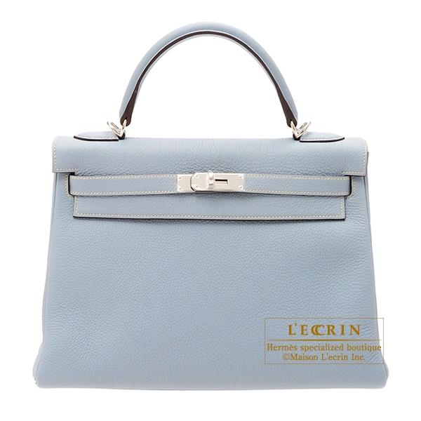 afb32bba2fe ... france hermes kelly bag 32 retourne blue lin togo leather silver  hardware 1de23 27851