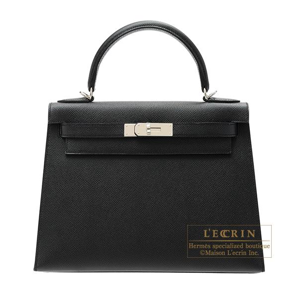エルメス ケリー28/外縫い ブラック ヴォーエプソン シルバー金具 HERMES Kelly bag 28 Sellier Black Epsom leather Silver hardware