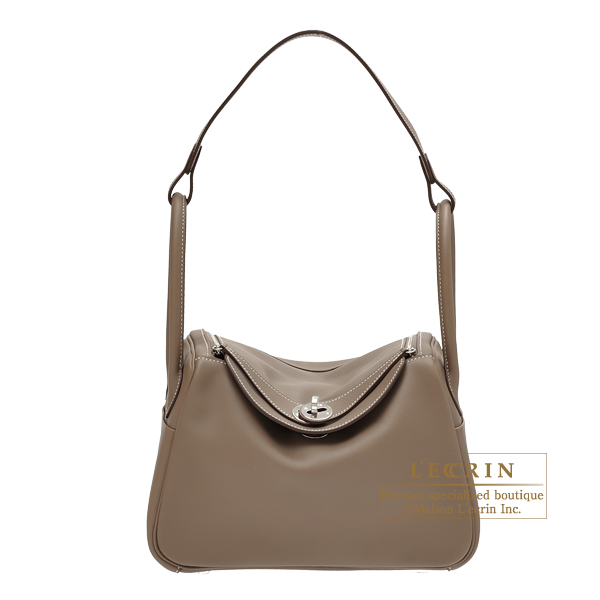 Hermes Lindy Bag 26 Etoupe Grey Swift Leather Silver Hardware