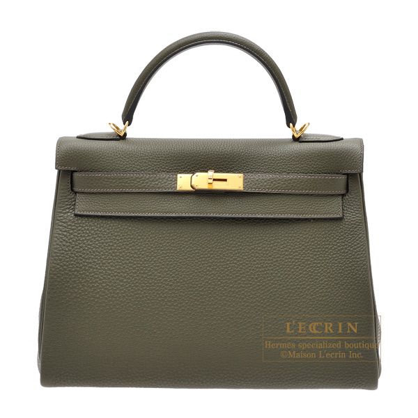 acc8f16d42 Hermes Kelly bag 32 Retourne Olive green Clemence leather Gold hardware