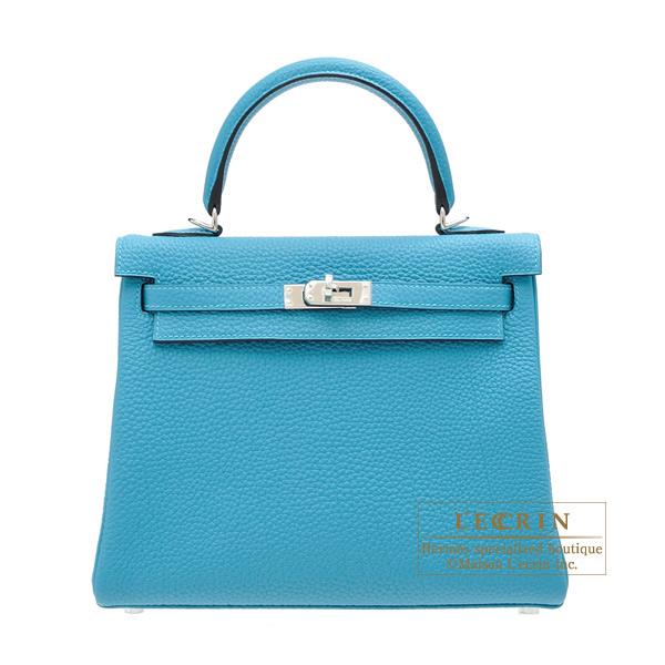 756d25c924 Hermes Kelly bag 25 Retourne Turquoise blue Togo leather Silver hardware