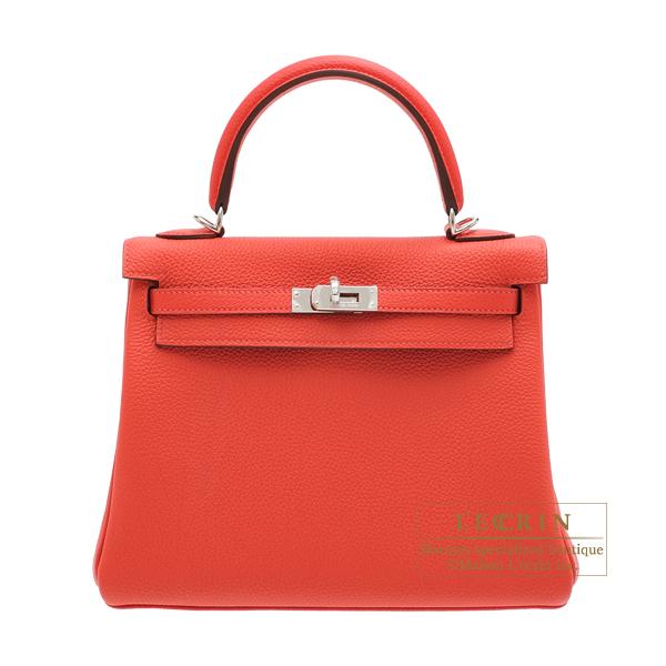 8721f7a529 Hermes Kelly bag 25 Retourne Rouge pivoine Togo leather Silver hardware