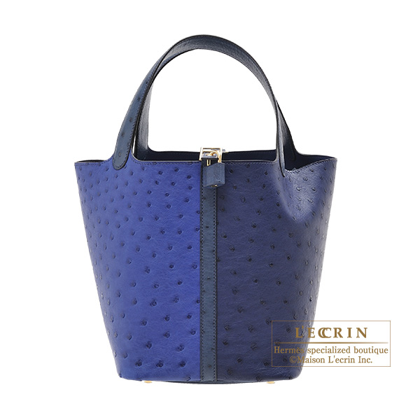 ... cheapest hermes picotin lock bag mm blue saphir blue iris ostrich  leather champagne gold hardware 7862e ... a44cbf6868