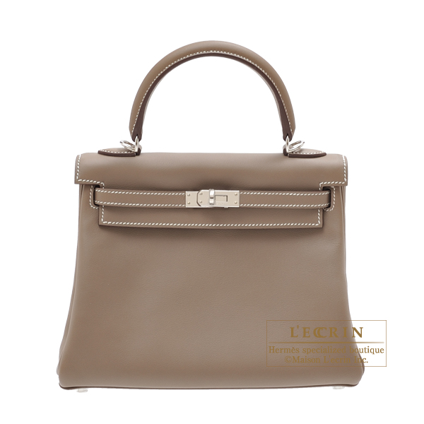 e7f1ecdca3b6 Hermes Kelly bag 25 Retourne Etoupe grey Swift leather Silver hardware