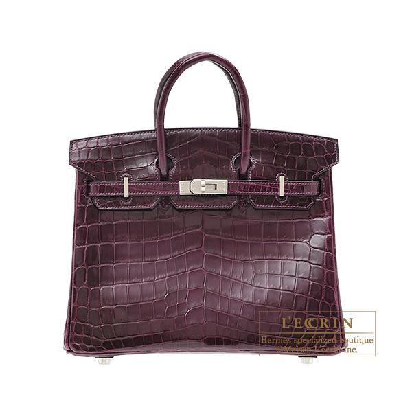 6463ae7bac3 Hermes Birkin bag 25 Cassis Niloticus crocodile skin Silver hardware