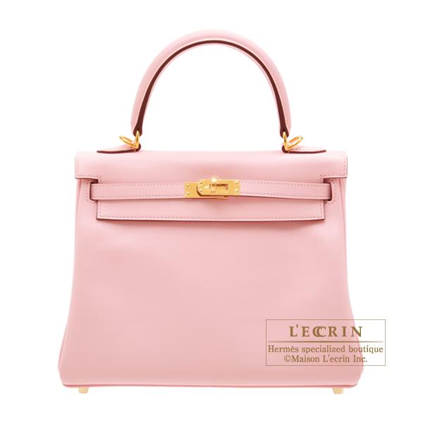 730e69906e Hermes Kelly bag 25 Retourne Rose sakura Swift leather Gold hardware