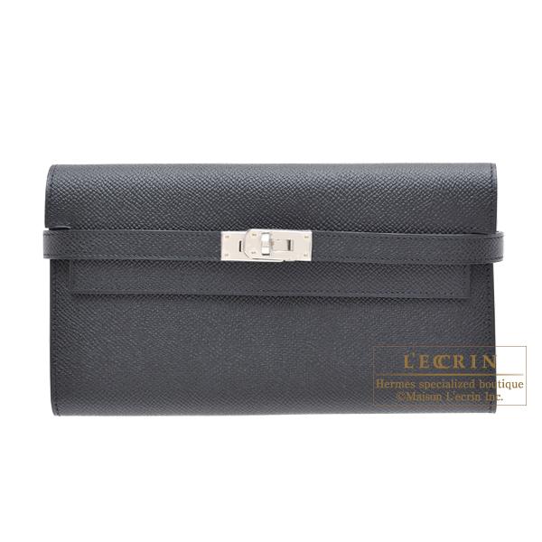 エルメス ケリーウォレットロング ブラック ヴォーエプソン シルバー金具 HERMES Kelly wallet long Black Epsom leather Silver hardware