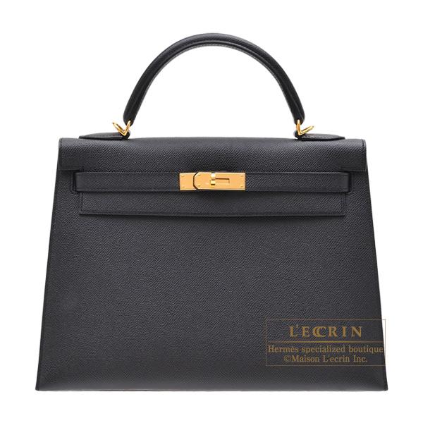 エルメス ケリー32/外縫い ブラック ヴォーエプソン ゴールド金具 HERMES Kelly bag 32 Sellier Black Epsom leather Gold hardware