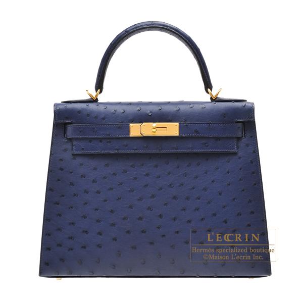 439dec47fd6 Lecrin Boutique Tokyo  Hermes Kelly bag 28 Sellier Blue iris Ostrich ...