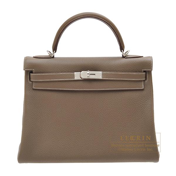 エルメス ケリー32/内縫い エトゥープ トリヨンクレマンス シルバー金具 HERMES Kelly bag 32 Retourne Etoupe grey Clemence leather Silver hardware